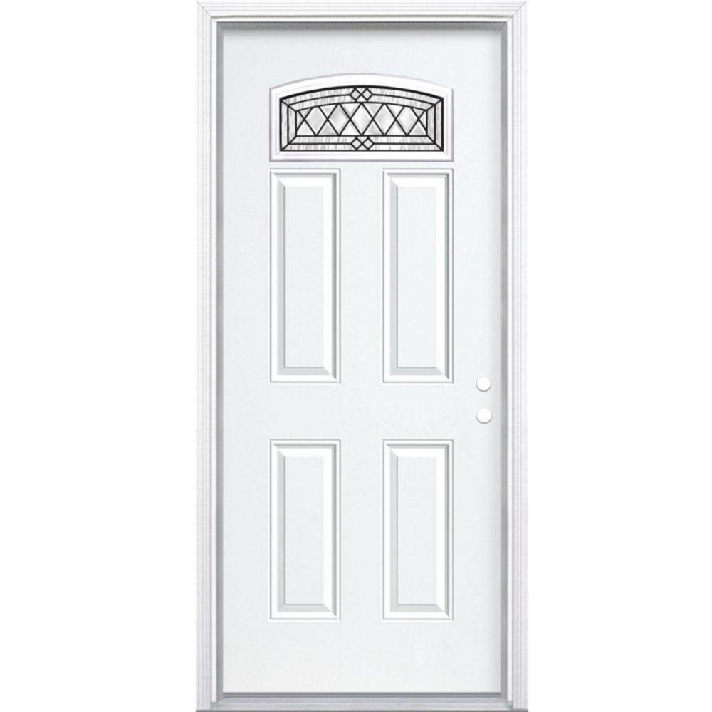 """36""""x80""""x6 9/16"""" Halifax noir antique d. lune cambré porte d'entrée moul. à brique m. gauche"""