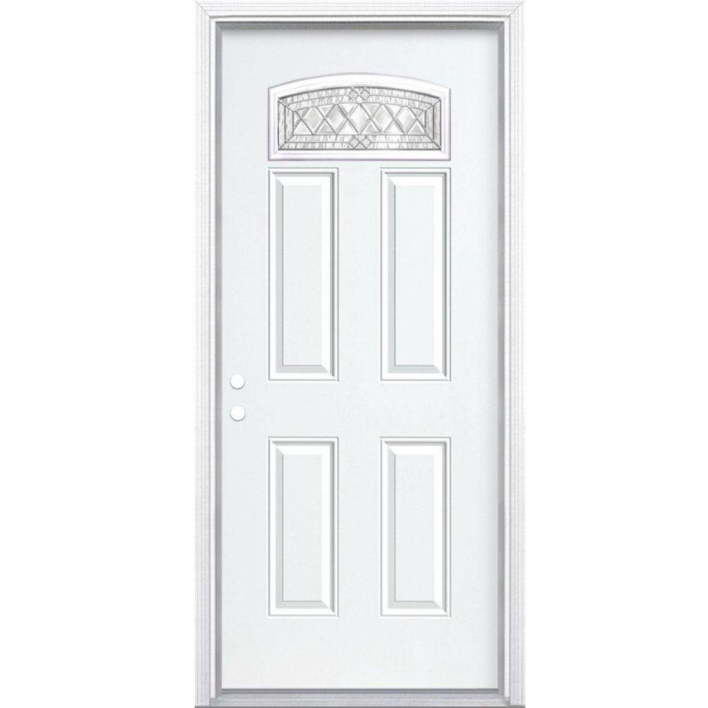 32-inch x 80-inch x 4 9/16-inch Nickel Camber Fan Lite Right Hand Entry Door with Brickmould
