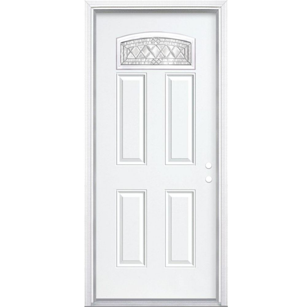 34-inch x 80-inch x 4 9/16-inch Nickel Camber Fan Lite Left Hand Entry Door with Brickmould