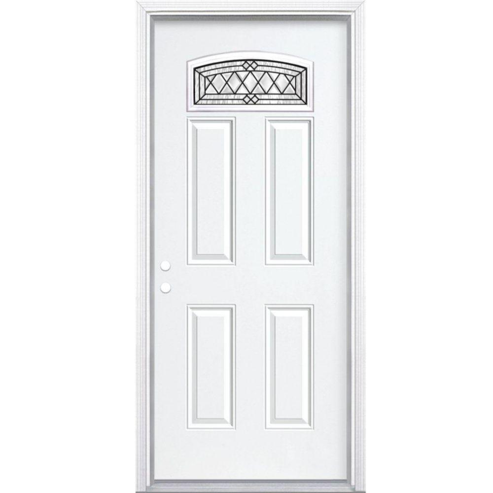 """36""""x80""""x4 9/16"""" Halifax noir antique d. lune cambré porte d'entrée moul. à brique m. droite"""