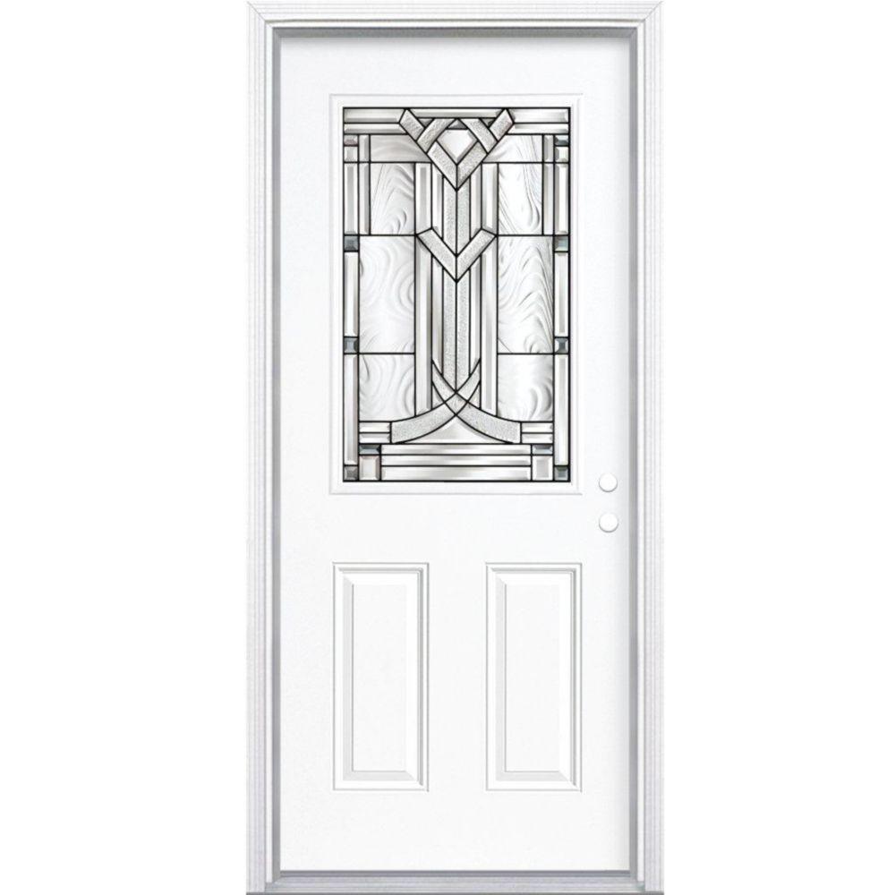 """36""""x80""""x6 9/16"""" Chatham noir antique demi verre porte d'entrée moulure à brique m. gauche"""