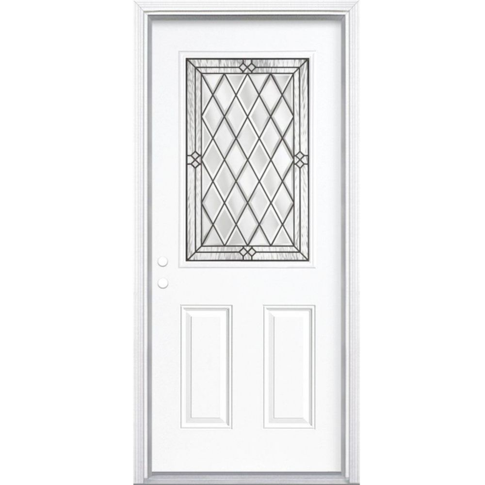 32 In. x 80 In. x 4 9/16 In. Halifax Antique Black Half Lite Right Hand Entry Door with Brickmoul...