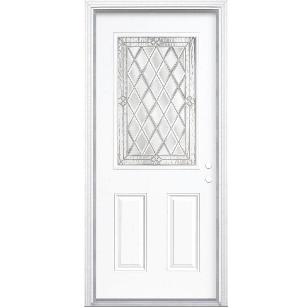 32-inch x 80-inch x 6 9/16-inch Nickel 1/2-Lite Left Hand Entry Door with Brickmould