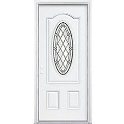 """Masonite 34""""x80""""x4 9/16"""" Halifax noir antique ver. 3/4 ovale d'entrée moulure à brique m. droite - ENERGY STAR®"""