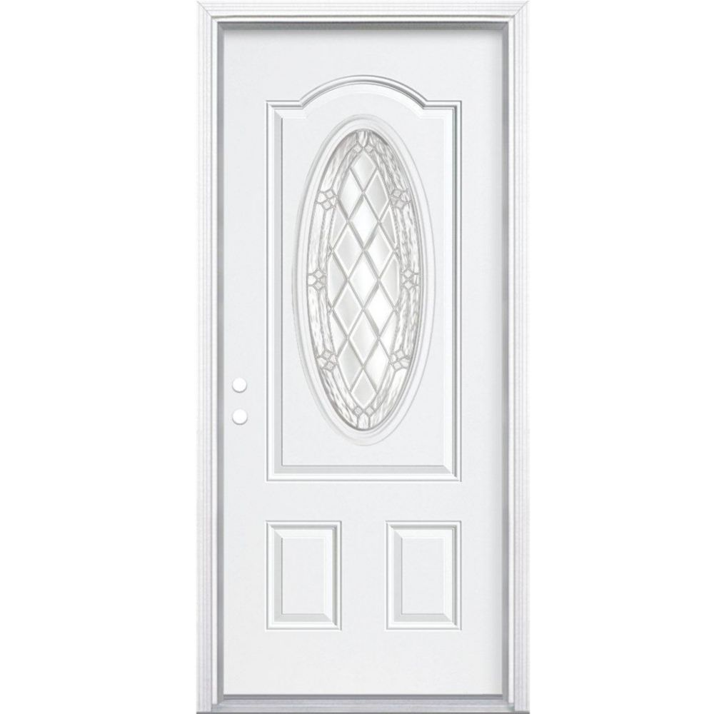Masonite 32 Inch X 80 Inch X 6 9 16 Inch Nickel 3 4 Oval Lite Right Hand Entry Door With