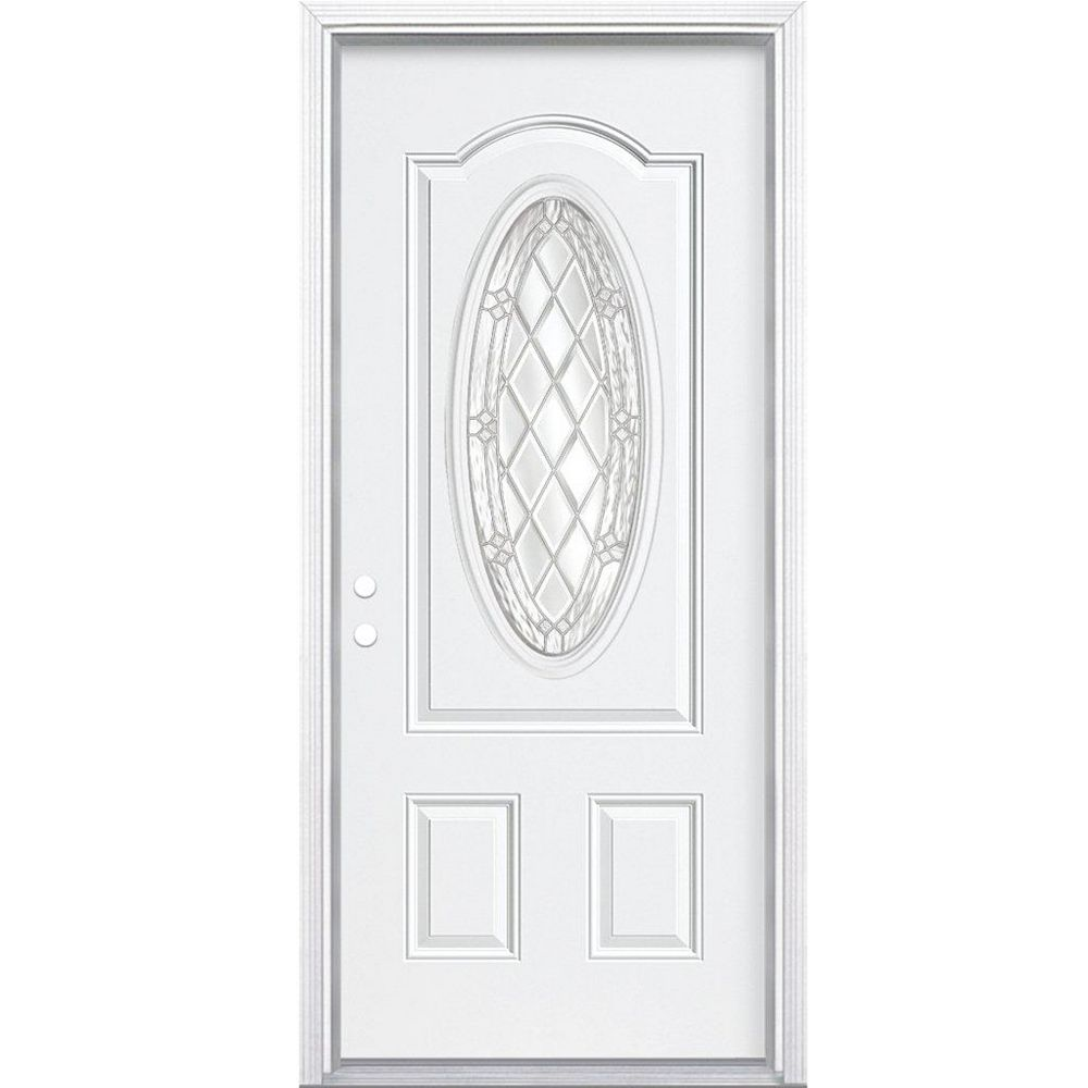 Masonite 34-inch x 80-inch x 6 9/16-inch Nickel 3/4 Oval Lite Right Hand Entry Door with Brickmould - ENERGY STAR®