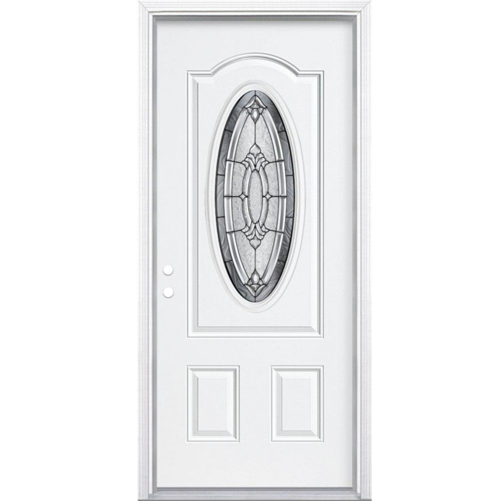 32 In. x 80 In. x 4 9/16 In. Providence Antique Black 3/4 Oval Lite Right Hand Entry Door with Br...