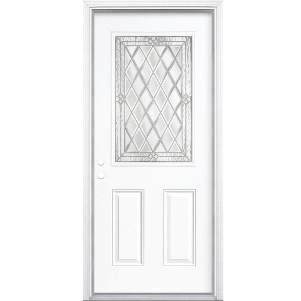 34-inch x 80-inch x 6 9/16-inch Nickel 1/2-Lite Right Hand Entry Door with Brickmould