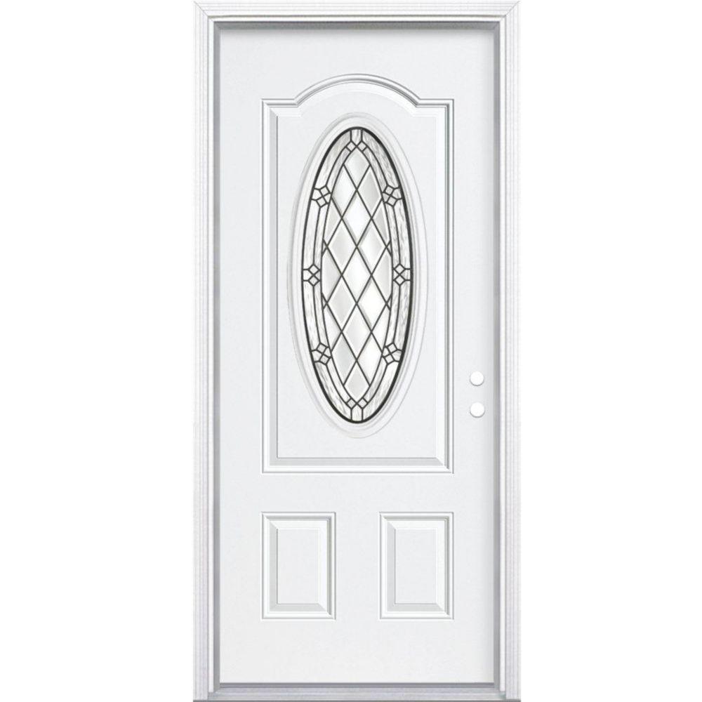 32 In. x 80 In. x 6 9/16 In. Halifax Antique Black 3/4 Oval Lite Left Hand Entry Door with Brickm...