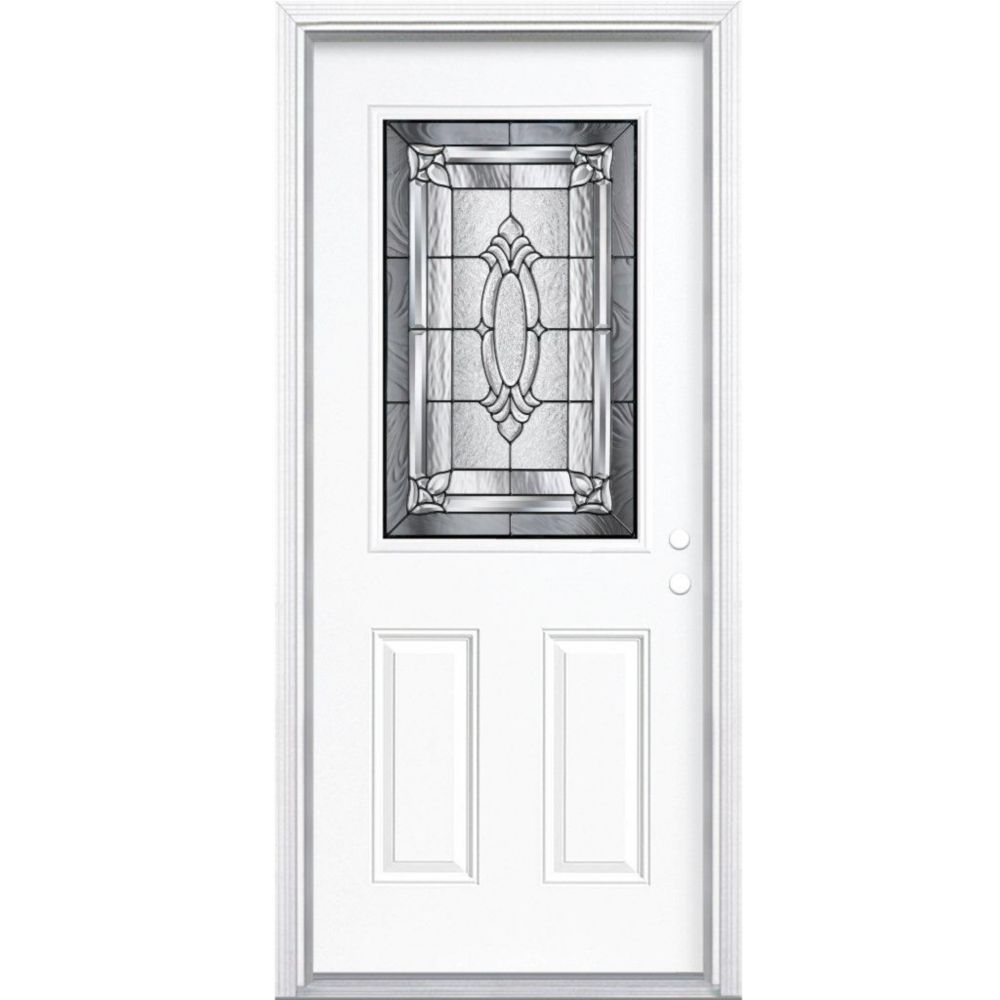 32 In. x 80 In. x 4 9/16 In. Providence Antique Black Half Lite Left Hand Entry Door with Brickmo...