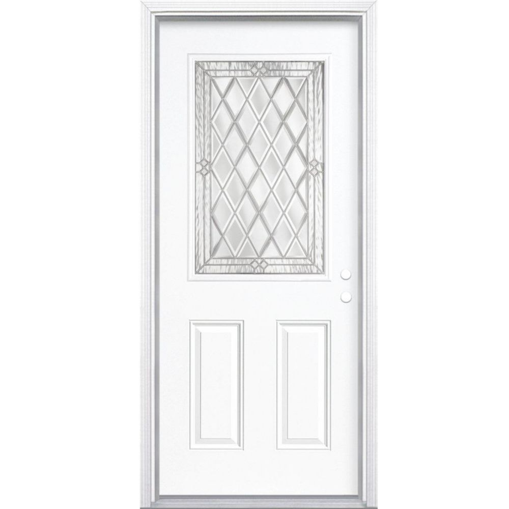 36-inch x 80-inch x 6 9/16-inch Nickel 1/2-Lite Left Hand Entry Door with Brickmould