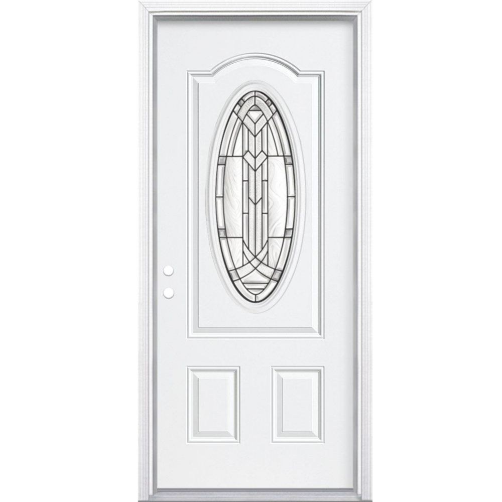 34-inch x 80-inch x 4 9/16-inch Antique Black 3/4 Oval Lite Right Hand Entry Door with Brickmould