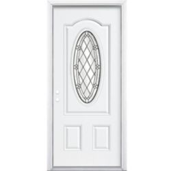 Masonite 34-inch x 80-inch x 6 9/16-inch Antique Black 3/4 Oval Lite Right Hand Entry Door with Brickmould - ENERGY STAR®