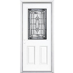 34-inch x 80-inch x 6 9/16-inch Antique Black 1/2-Lite Right Hand Entry Door with Brickmould