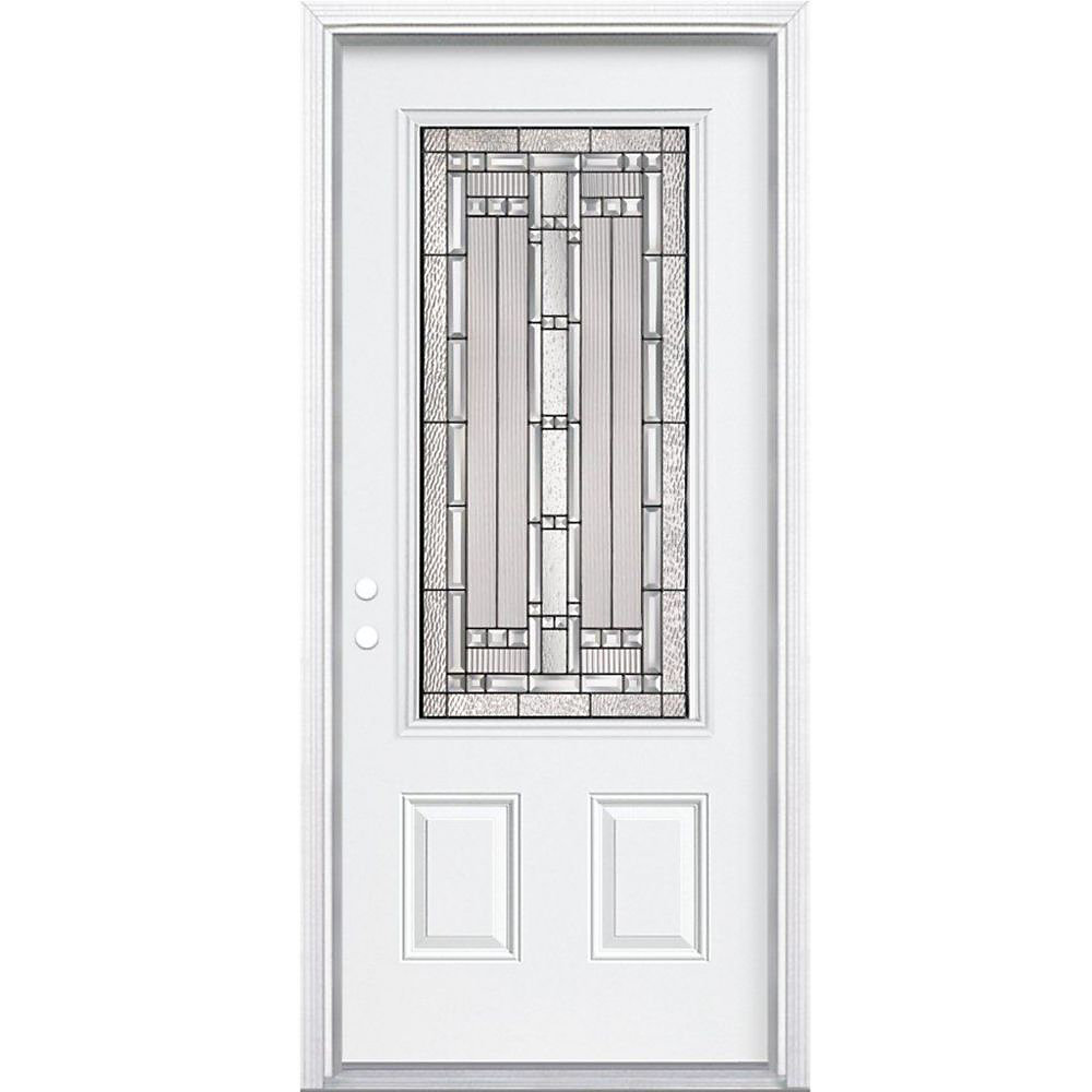 32-inch x 80-inch x 6 9/16-inch Antique Black 3/4-Lite Right Hand Entry Door with Brickmould - ENERGY STAR®