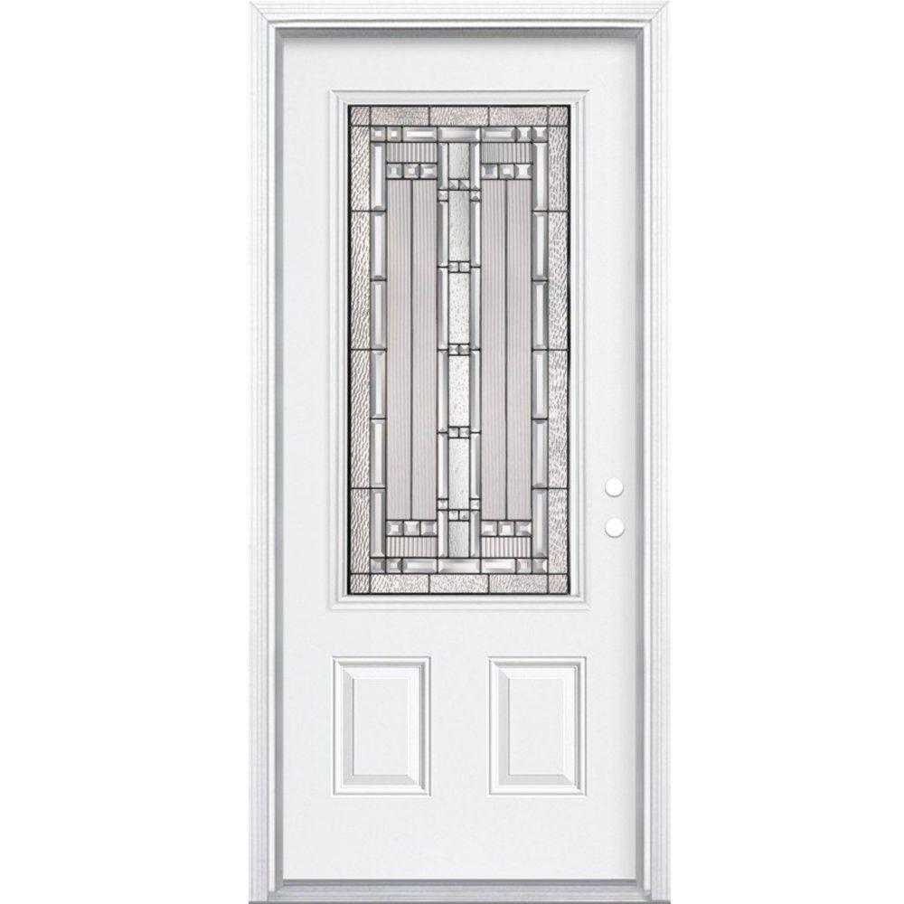 """34""""x80""""x 6 9/16"""" Elmhurst noir antique ver. 3/4 porte d'entrée moulure à brique m. gauche"""
