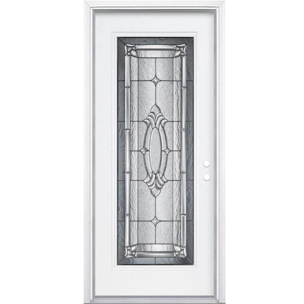 32-inch x 80-inch x 6 9/16-inch Antique Black Full Lite Left Hand Entry Door with Brickmould