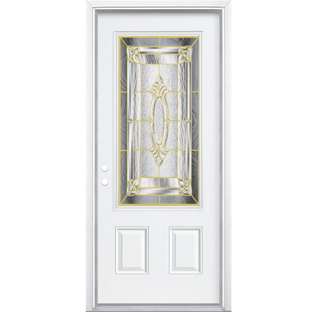36-inch x 80-inch x 6 9/16-inch Brass 3/4-Lite Right Hand Entry Door with Brickmould