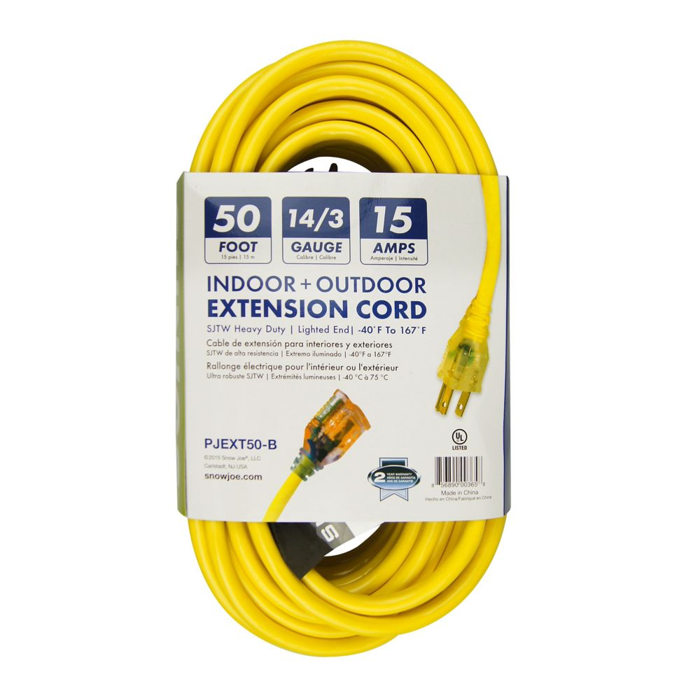 Power Joe 14 Gauge 50 Foot Low Temp Extension Cord with Lighted End