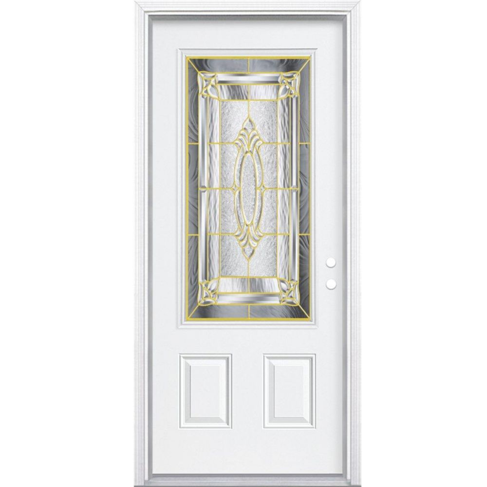 36-inch x 80-inch x 6 9/16-inch Brass 3/4-Lite Left Hand Entry Door with Brickmould