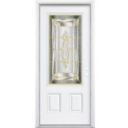 Masonite 36-inch x 80-inch x 6 9/16-inch Brass 3/4-Lite Left Hand Entry Door with Brickmould - ENERGY STAR®
