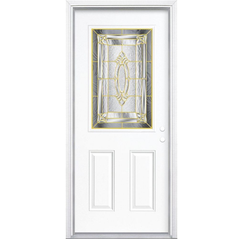 32-inch x 80-inch x 4 9/16-inch Brass 1/2-Lite Left Hand Entry Door with Brickmould