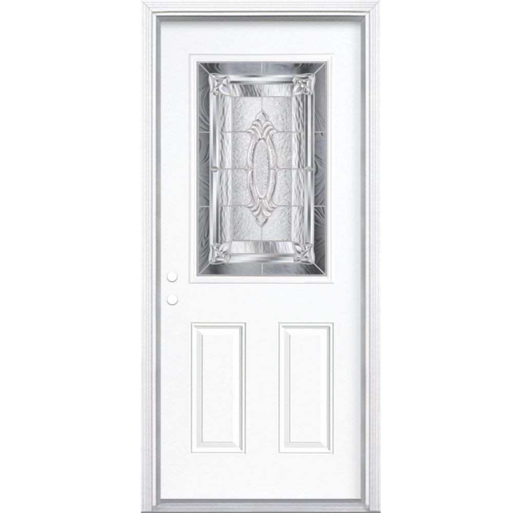 32-inch x 80-inch x 6 9/16-inch Nickel 1/2-Lite Right Hand Entry Door with Brickmould