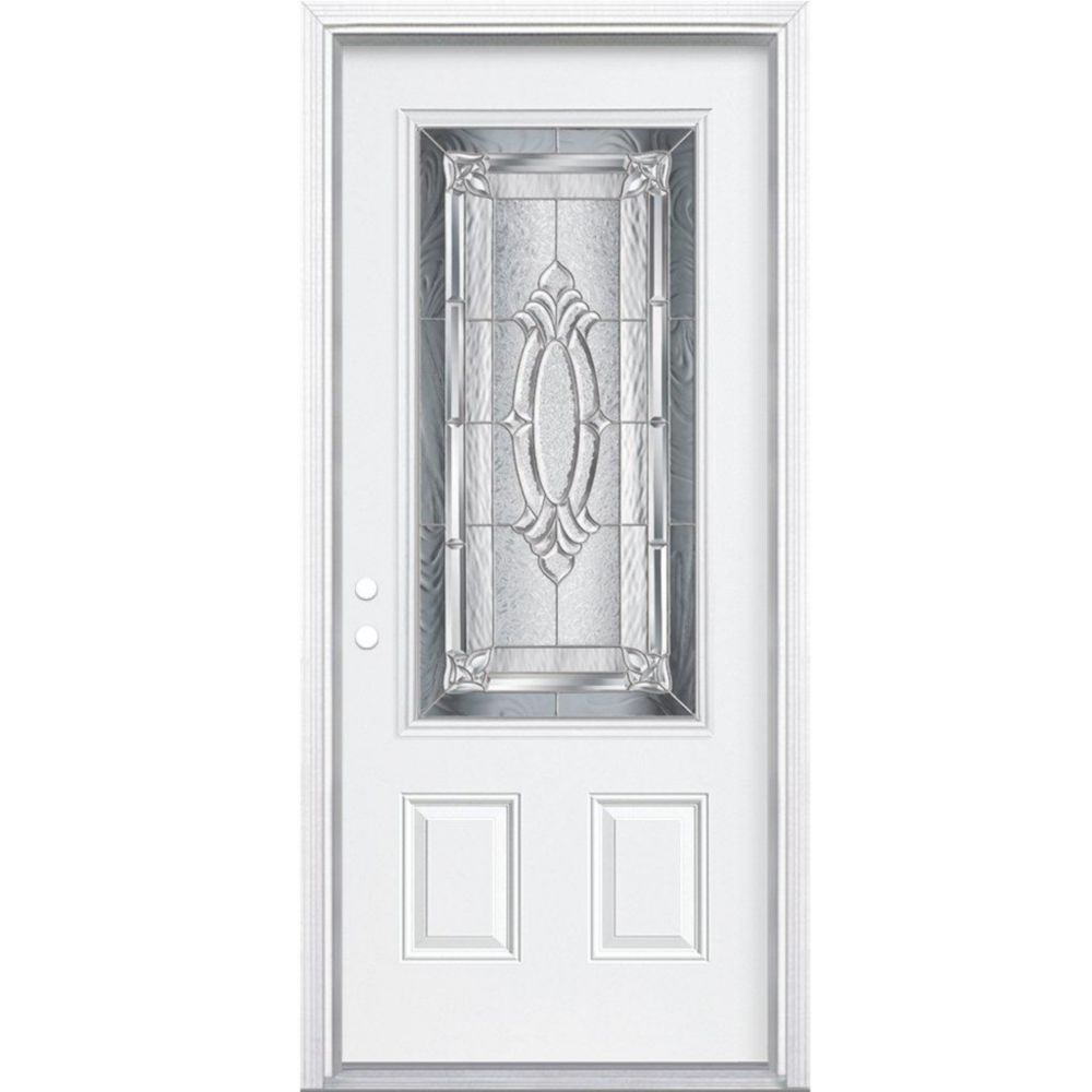 32-inch x 80-inch x 6 9/16-inch Nickel 3/4-Lite Right Hand Entry Door with Brickmould