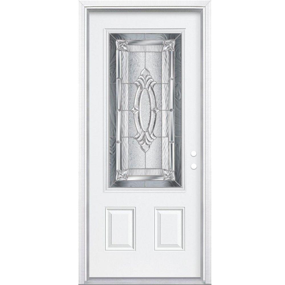 36-inch x 80-inch x 4 9/16-inch Nickel 3/4-Lite Left Hand Entry Door with Brickmould