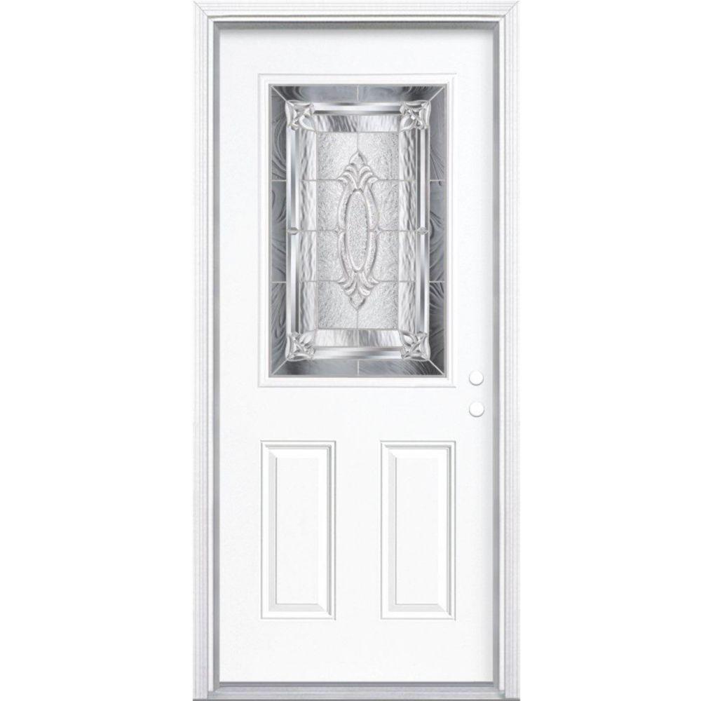 34-inch x 80-inch x 6 9/16-inch Nickel 1/2-Lite Left Hand Entry Door with Brickmould