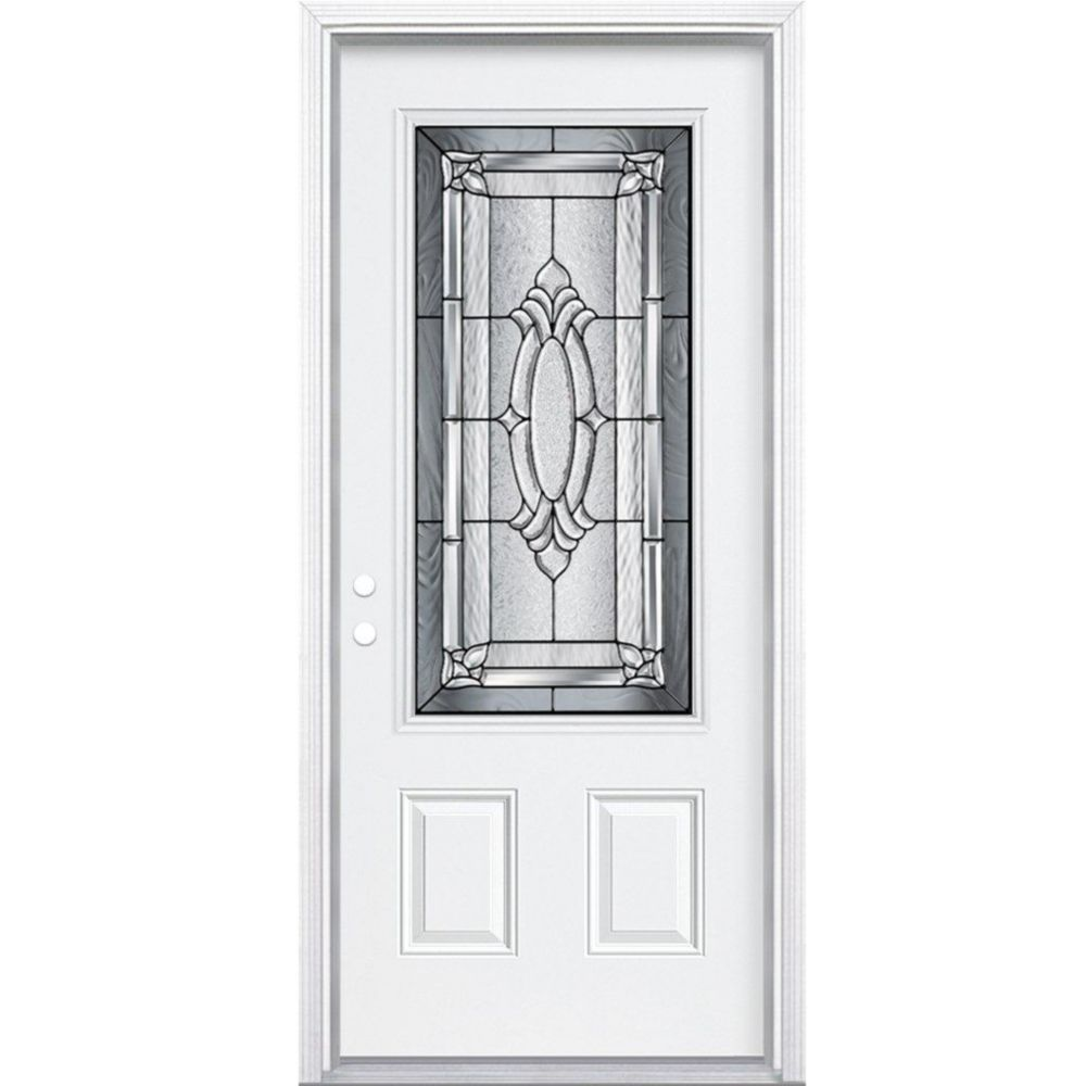 34-inch x 80-inch x 4 9/16-inch Antique Black 3/4-Lite Right Hand Entry Door with Brickmould
