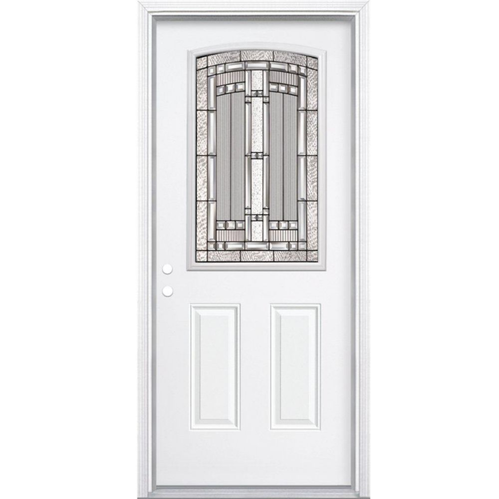 34-inch x 80-inch x 6 9/16-inch Antique Black Camber 1/2-Lite Right Hand Entry Door with Brickmou...