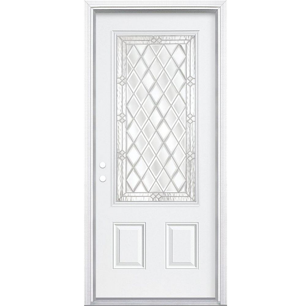 Masonite 34-inch x 80-inch x 6 9/16-inch Nickel 3/4-Lite Right Hand Entry Door with Brickmould - ENERGY STAR®