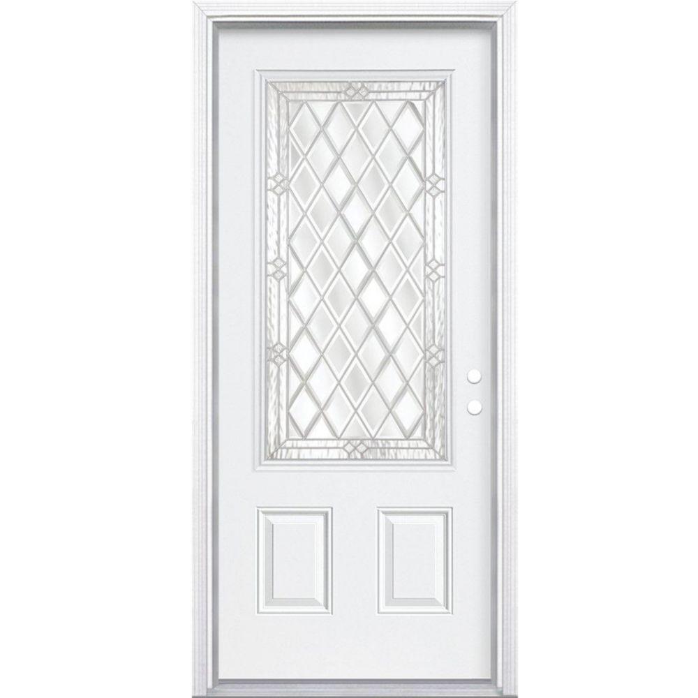32-inch x 80-inch x 6 9/16-inch Nickel 3/4-Lite Left Hand Entry Door with Brickmould