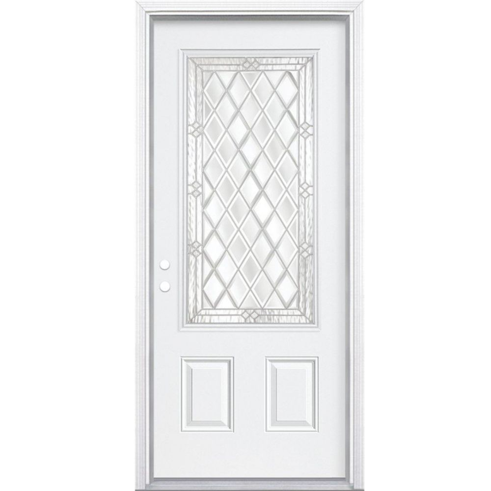 36-inch x 80-inch x 6 9/16-inch Nickel 3/4-Lite Right Hand Entry Door with Brickmould