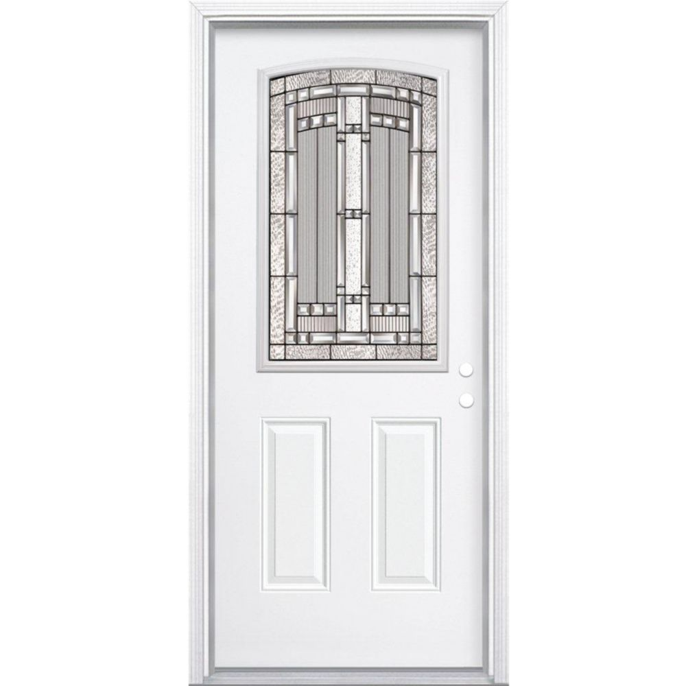 34-inch x 80-inch x 4 9/16-inch Antique Black Camber 1/2-Lite Left Hand Entry Door with Brickmoul...