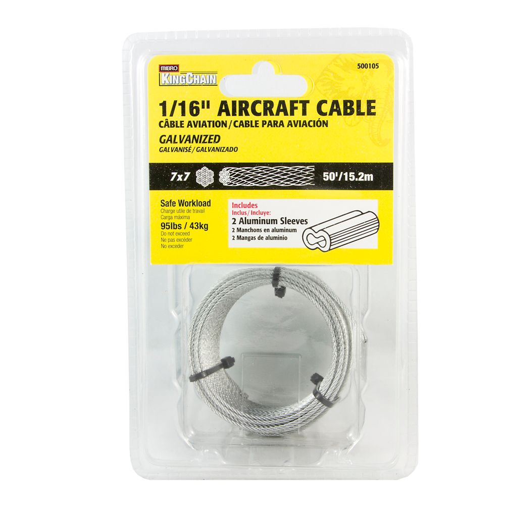 1/16 7X7 Aircraft Cable Galv 50 ft