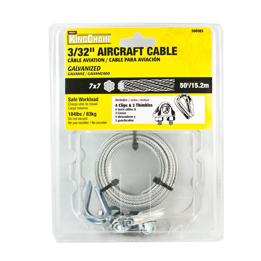 3/32 7X7 Aircraft Cable Galv. 50 ft