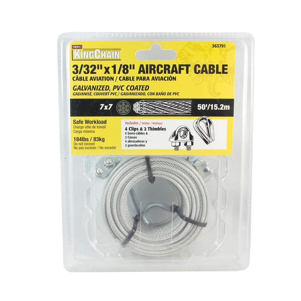 3/32 inches 7X7 Câble Aviation PVC. 50'