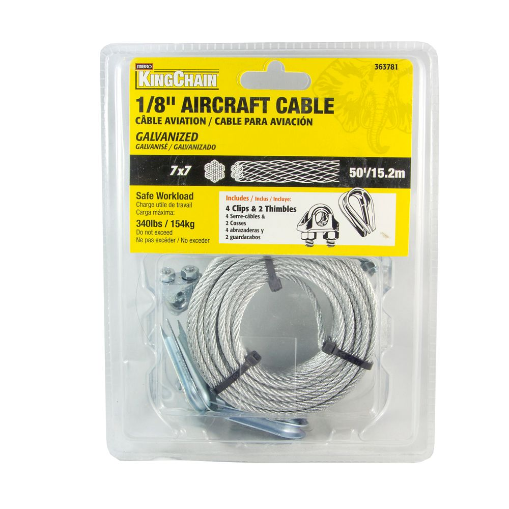1/8 7X7 Aircraft Cable Galv 50 ft