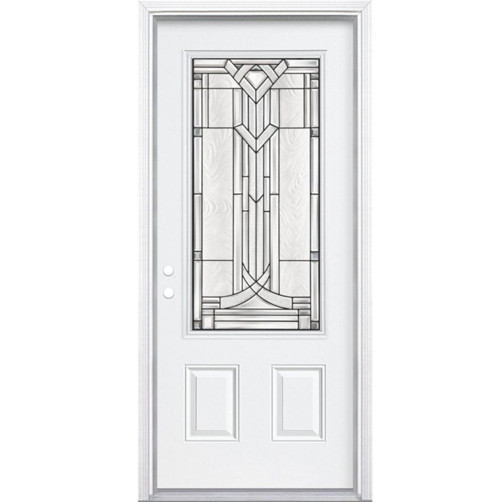 32-inch x 80-inch x 4 9/16-inch Antique Black 3/4-Lite Right Hand Entry Door with Brickmould