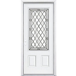 Masonite 36-inch x 80-inch x 4 9/16-inch Antique Black 3/4-Lite Right Hand Entry Door with Brickmould - ENERGY STAR®