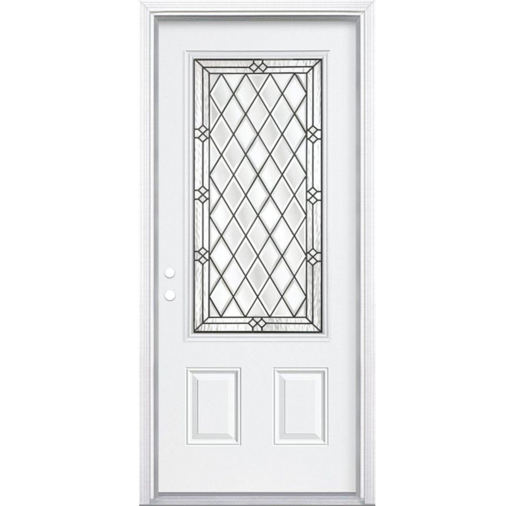 34 In. x 80 In. x 4 9/16 In. Halifax Antique Black 3/4 Lite Left Hand Entry Door with Brickmould
