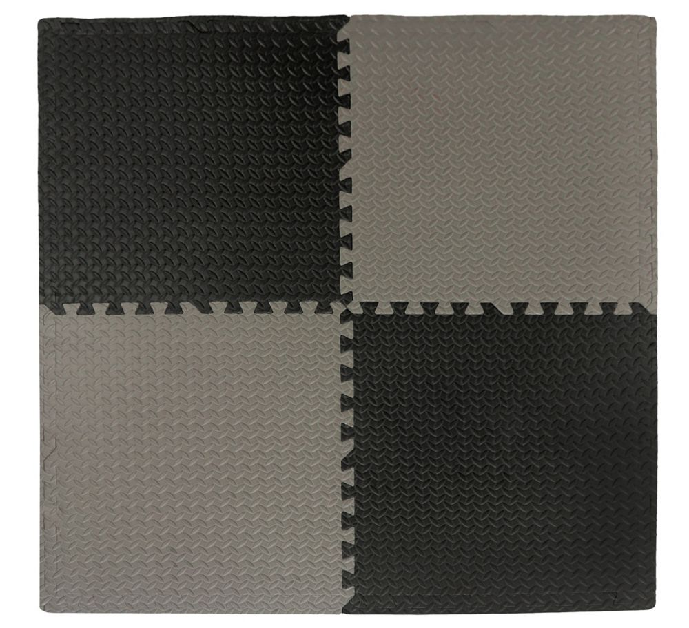 Tapis Emboîtables Anti-Fatigue Noir/Gris - 24 Po x 24 Po