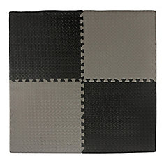 Anti-Fatigue Interlocking Mat Black/Grey - 24 Inch x 24 Inch