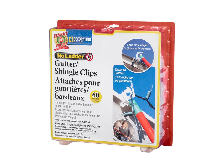 No Ladder Gutter Shingle Clips - 60 Pieces
