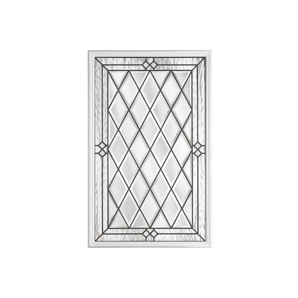 22-inch x 36-inch Halifax Antique Black 1/2-Lite Decorative Glass Insert
