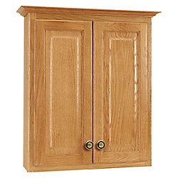 American Classics Hampton 25-inch W x 29-inch H x 7-1/2-inch D Bathroom Storage Wall Cabinet in Oak