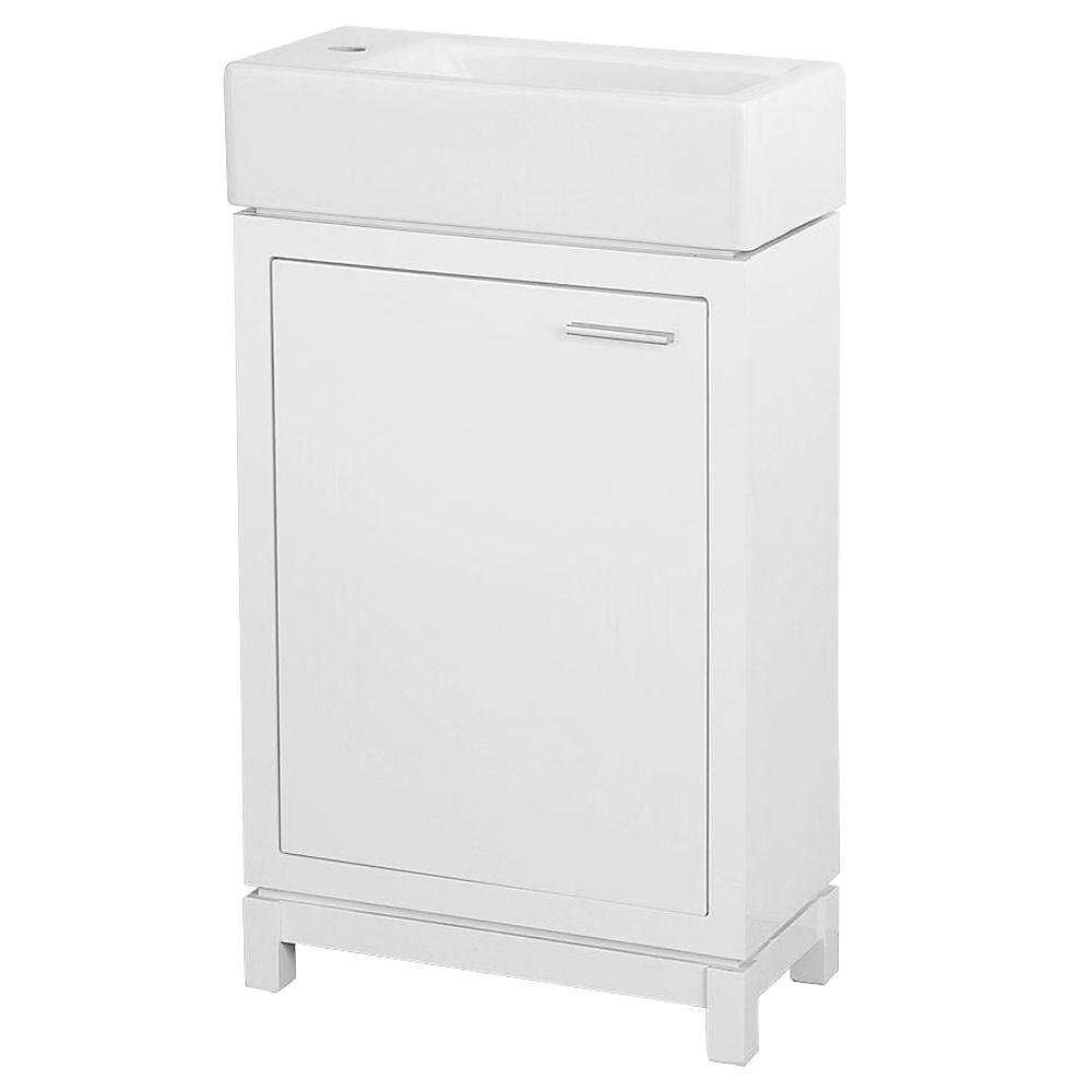 Kole 19-1/2-inch W x 10-inch D Bath Vanity in White with Fireclay Basin in White