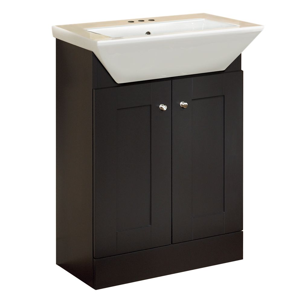 24Inch London Shaker-style Vanity Base with Top - Dark Chocolate